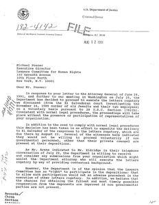 Letter Of Rogatory.Letter To Michael Posner Executive Director Lawyer Committee For