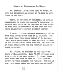 Amendment to H.R. 4300, Section 324: Temporary protected status for nationals of El Salvador, Lebanon, Liberia, and Kuwait, and Remarks by Congressman John Joseph Moakley, 26 September 1990