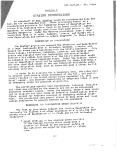 Amendment proposal, section 1, by John Joseph Moakley regarding the suspension of deportation of most illegal immigrants from El Salvador, Lebanon, Liberia, and Kuwait for three years, 1990