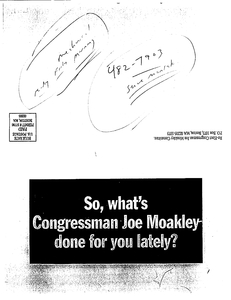 """Campaign mailing: """"So, what's Congressman Joe Moakley done for you lately?"""""""