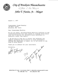Letter to John Joseph Moakley from Brockton Mayor John Yunits regarding welfare-to-work assistance funding, 1 August 1997