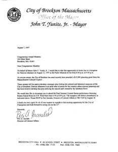 Schedule request to John Joseph Moakley from Brockton Mayor John Yunits, 7 August 1997
