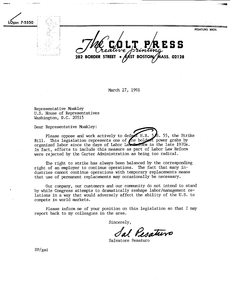 Constituent letter to John Joseph Moakley from the Colt Press of East Boston regarding H.R. 5 The anti-striker replacement act