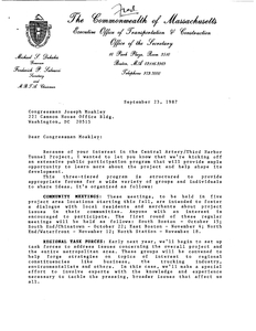 Letter from Fred Salvucci to John Joseph Moakley about the Central Artery/Third Harbor Tunnel project, 23 September 1987