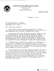 "Letter from the Massachusetts Water Resources Authority (MWRA) to John Joseph Moakley regarding the restructuring of sewerage treatment facilities and the Boston harbor clean up, including ""MWRA Ready-To-Go"" information sheets, 5 February 1993"