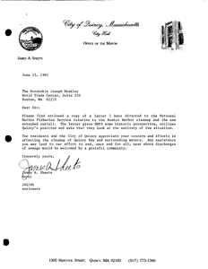 Letter from Quincy Mayor James Sheets to John Joseph Moakley regarding the Boston Harbor clean-up, including a letter from Sheets to Thomas Bigford of the National Marine Fisheries Service, 15 June 1992