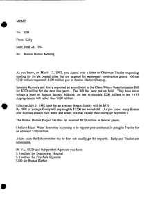 Memorandum from Kelly Timilty to John Joseph Moakley about a Boston Harbor Meeting, 24 June 1992