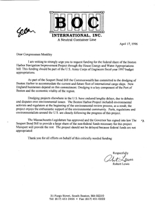 Letter from Robert Lewis to John Joseph Moakley regarding the Boston Harbor dredging project, 17 April 1996