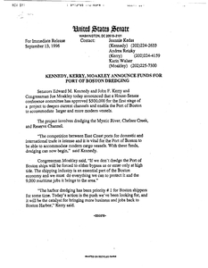 "Press release ""Kennedy, Kerry and Moakley announce funds for port of Boston dredging"", 13 September 1996"