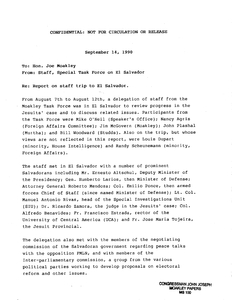 Confidential Memorandum to John Joseph Moakley from the staff of the Special Task Force regarding the report on the staff trip to El Salvador, 14 September 1990