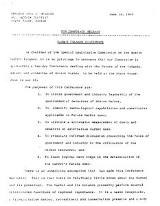 Released statement from John Joseph Moakley announcing two-day Harbor Islands Conference to be held at the State House, 18 June 1969