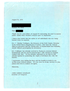 Correspondence between John Joseph Moakley and a Boston constituent requesting State and National Guard protection for students being bused, August 1975
