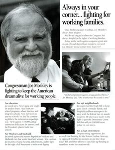 """Campaign mailing tri-fold: """"Joe Moakley. Democrat. He fights for us."""""""