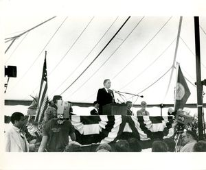 John Joseph Moakley speaking at Harbor Islands Transfer and Award Event, 1977