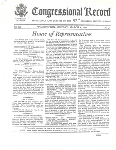 """Congressional Record - House. """"Legislation to prohibit further military assistance to El Salvador."""" 8 March 1982"""