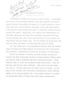 "Draft from The Committee of Correspondents, ""An Open Letter to Massachusetts Liberals"", 12 January 1976"