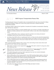 News Release: MTF Proposes Transportation Finance Plan, 23 March 2000