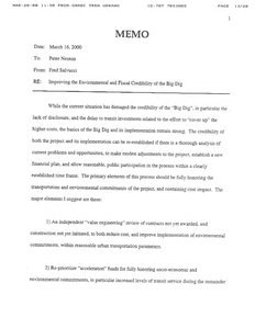 "Memorandum from Fred Salvucci to Peter Nesson regarding ""improving the environmental and fiscal credibility of the big dig,"" 16 March 2000"