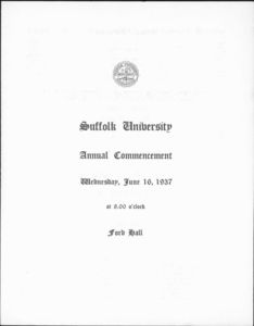 1937 Suffolk University commencement program