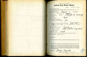 Shichiro Hayashi's application for admission to Suffolk Law School, 12 September 1918