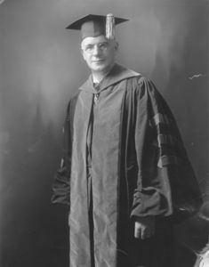 Suffolk University President Gleason L. Archer (1906-1948) in academic regalia