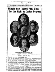 Scrapbook of news clippings about Suffolk University Law School's Legislative Contest of 1913