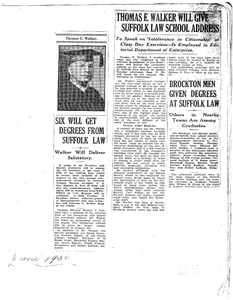Scrapbook containing a variety of news clippings about Suffolk University, 1930-1931