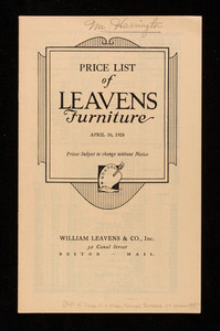 Price list of Leavens Furniture, William Leavens & Co., inc., 32 Canal Street, Boston, Mass.