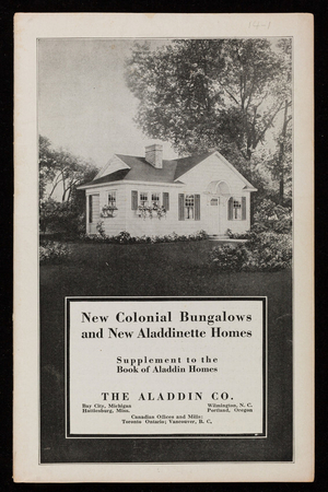 New colonial bungalows and new Aladdinette Homes, The Aladdin Co., Bay City, Michigan