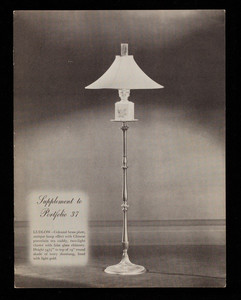 Supplement to Portfolio No. 37, lamps, The Crest Company, 501 West 35th Street, Chicago, Illinois