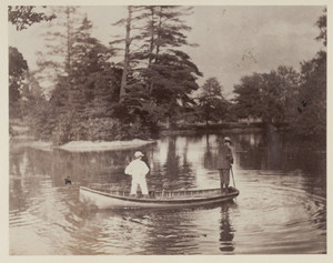 """Ronald T. Lyman and """"Possie"""" canoeing at the Lyman estate, Waltham, Mass."""