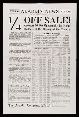 Aladdin news, 1/4 off sale, The Aladdin Company, Bay City, Michigan