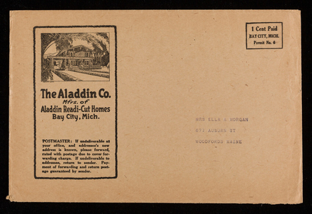 Envelopes for The Aladdin Co., mfrs. of Aladdin Readi-Cut Homes, Bay City, Michigan