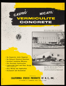 Caspro, Micafil Vermiculite Concrete, manufactured by California Stucco Products of New England, Inc., 169 Waverly Street, Cambridge, Mass.