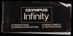 Olympus Infinity instructions, Olympus Optical Co., Ltd., San-Ei Building, 22-2, Nishi-Shinjuku 1-chrome, Shinjuku, Tokyo, Japan