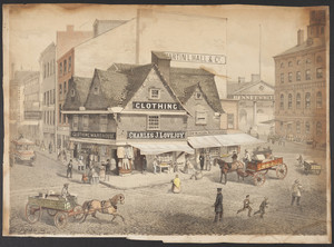 Print of the Old Feather Store by Louis Prang