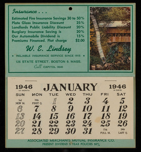 Calendar for Associated Merchants Mutual Insurance Co., location unknown, 1946