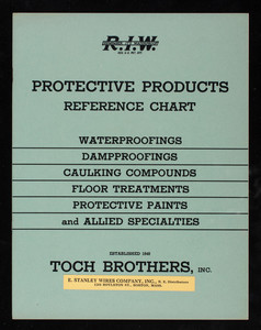 Protective products reference chart, Toch Brothers, Inc., New York, New York