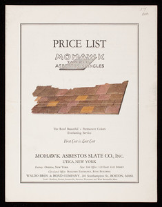 Price list, Mohawk Tapered Asbestos Shingles, Mohawk Asbestos Slate Company, Inc., Utica, New York