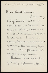 "Letter from Theodore Jewett Eastman to ""Aunt Annie"" Fields, June 6, [?]"