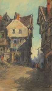 Street scene painting, William Ralph Emerson