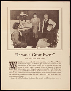 """It was a Great Event,"" how Joe's ideal won father, Deming Marvel Water System, Deming Company, Salem, Ohio"