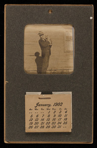 Calendar 1902, man holding a cat, location unknown, 1902