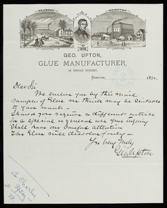 Letterhead for Geo. Upton, glue manufacturer, 18 Broad Street, Boston, Mass., dated October 5, 1876