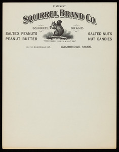 Letterheads, Squirrel Brand Co., salted peanuts, 10-12 Boardman Street, Cambridge, Mass., undated