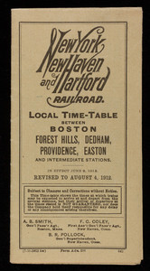 New York New Haven and Hartford Railroad local time-table between Boston, Forest Hills, Dedham, Providence, Easton and intermediate stations, revised to August 4, 1912