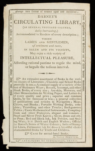 Advertisement for Dabney's circulating library of several thousand volumes, daily increasing, accommodated to readers of every description, Salem, Mass., undated