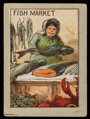 Fish market picture card, location unknown, undated