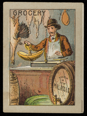Grocery picture card, location unknown, undated