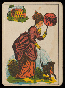 Picture card, woman in red with a dog and a fan, house in the background, location unknown, undated